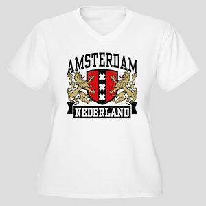Amsterdam Nederland Women's Plus Size V-Neck T-Shi