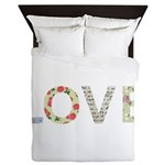 Shabby Chic Love Typography Queen Duvet