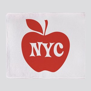 New York CIty Big Red Apple Throw Blanket