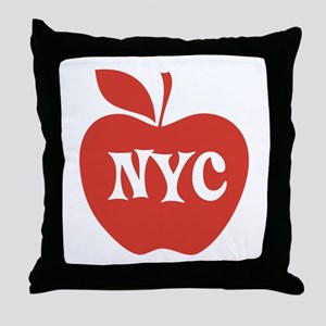 New York CIty Big Red Apple Throw Pillow