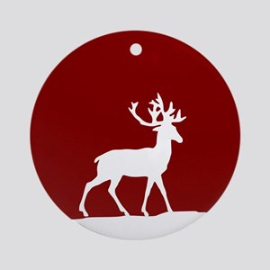 Deer in the snow Ornament (Round)