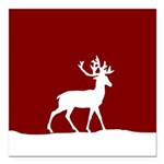 Deer in the snow Square Car Magnet 3