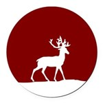 Deer in the snow Round Car Magnet