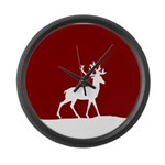 Deer in the snow Large Wall Clock