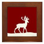 Deer in the snow Framed Tile