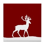 Deer in the snow Tile Coaster