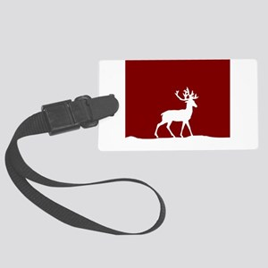 Deer in the snow Large Luggage Tag