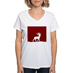 Deer in the snow Women's V-Neck T-Shirt