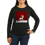 Deer in the snow Women's Long Sleeve Dark T-Shirt