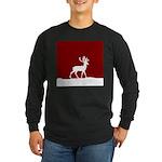 Deer in the snow Long Sleeve Dark T-Shirt