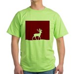Deer in the snow Green T-Shirt