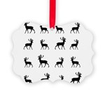 Deer silhouette pattern Picture Ornament