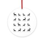Deer silhouette pattern Ornament (Round)