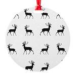 Deer silhouette pattern Round Ornament