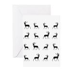 Deer silhouette pattern Greeting Cards (Pk of 10)