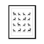 Deer silhouette pattern Framed Panel Print