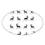 Deer silhouette pattern Sticker (Oval)