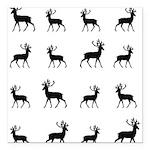 Deer silhouette pattern Square Car Magnet 3