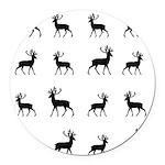 Deer silhouette pattern Round Car Magnet
