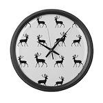 Deer silhouette pattern Large Wall Clock