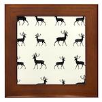 Deer silhouette pattern Framed Tile