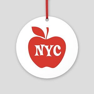 New York CIty Big Red Apple Ornament (Round)