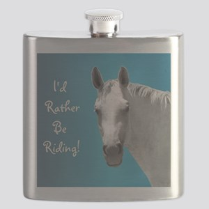Id Rather Be Riding Horse Flask