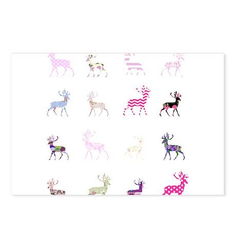 Pink deer pattern Postcards (Package of 8)