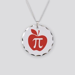 Red Apple Pi Math Humor Necklace Circle Charm