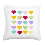 Rainbow Hearts Square Canvas Pillow