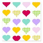 Rainbow Hearts Square Car Magnet 3