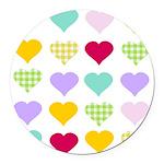 Rainbow Hearts Round Car Magnet
