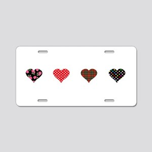 Red and Black Hearts Aluminum License Plate