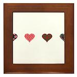 Red and Black Hearts Framed Tile