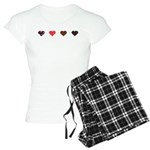 Red and Black Hearts Women's Light Pajamas