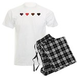 Red and Black Hearts Men's Light Pajamas