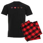 Red and Black Hearts Men's Dark Pajamas
