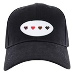 Red and Black Hearts Black Cap