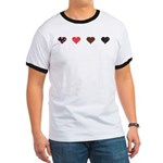 Red and Black Hearts Ringer T