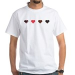 Red and Black Hearts White T-Shirt