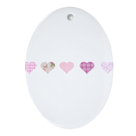 Pink Hearts Ornament (Oval)