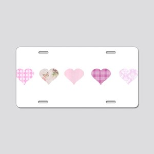 Pink Hearts Aluminum License Plate