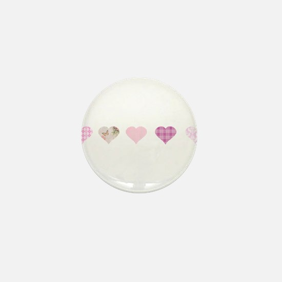 Pink Hearts Mini Button