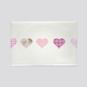 Pink Hearts Rectangle Magnet