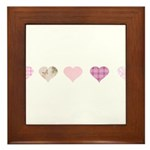 Pink Hearts Framed Tile