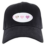 Pink Hearts Black Cap