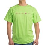 Pink Hearts Green T-Shirt