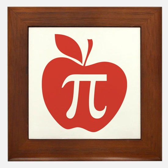 Red Apple Pi Math Humor Framed Tile