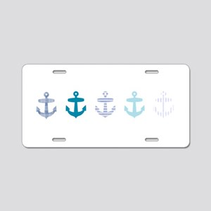 Blue anchors Aluminum License Plate