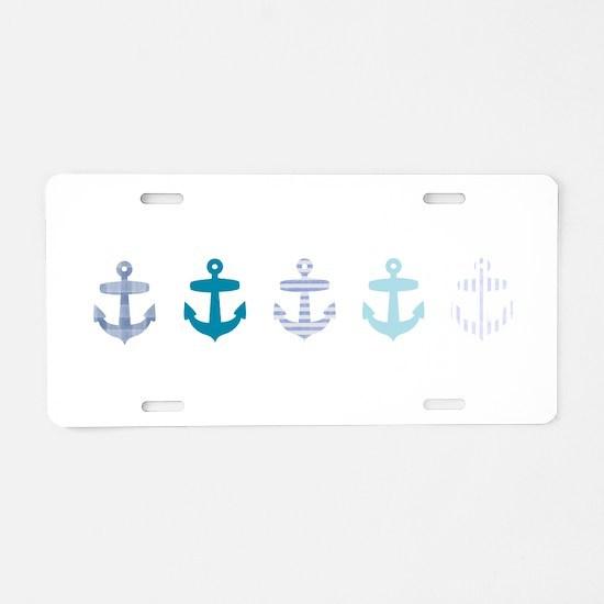 Blue anchors Aluminum License Plate